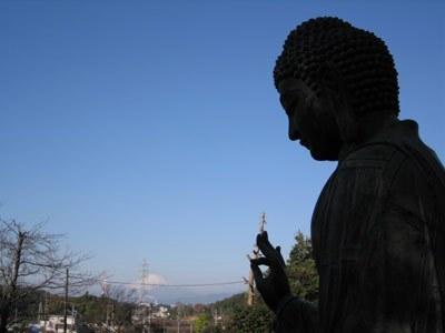 朝の大仏と富士山