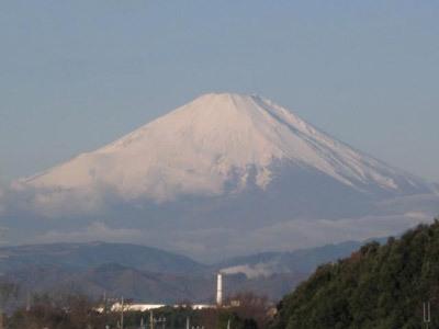 寒い朝の富士山